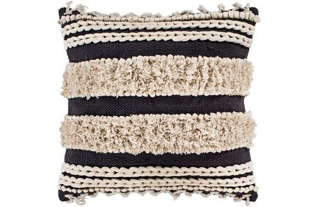 Accent Pillow-Black And Ivory Boucle Stripes 18X18