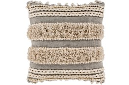 Accent Pillow-Grey And Taupe Boucle Stripes 18X18