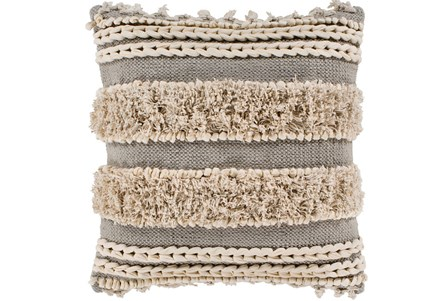 Accent Pillow-Grey And Taupe Boucle Stripes 18X18 - Main