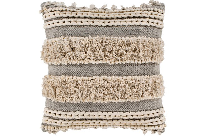 Accent Pillow-Grey And Taupe Boucle Stripes 18X18 - 360