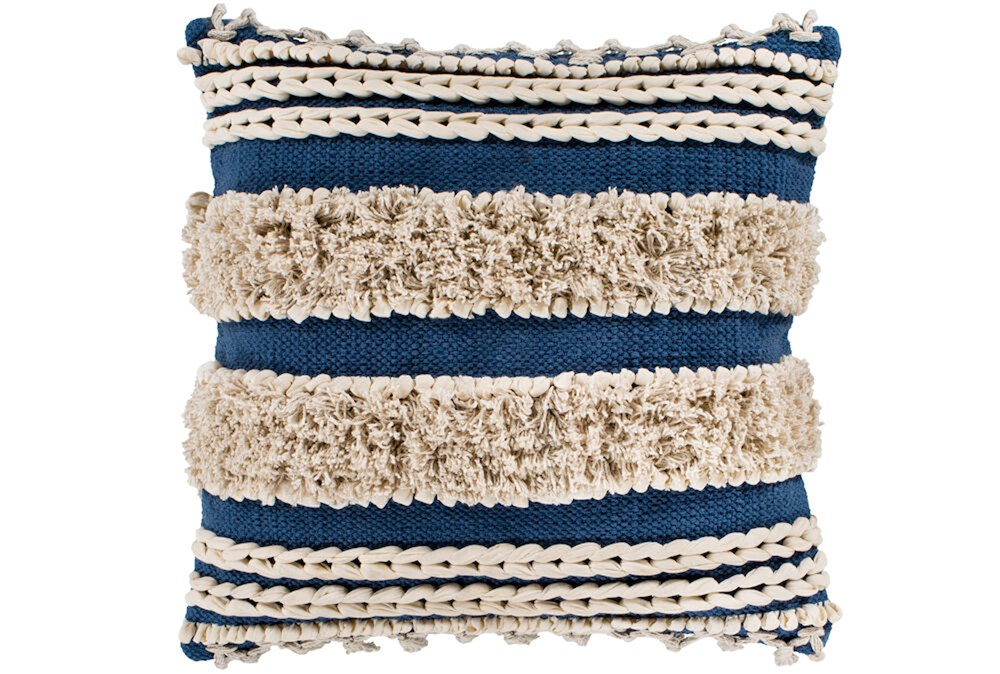 Accent Pillow-Blue And Taupe Boucle Stripes 18X18