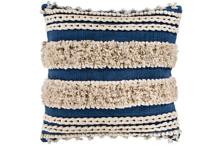 Accent Pillow-Blue And Taupe Boucle Stripes 18X18 - Main
