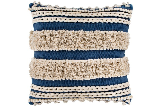 Accent Pillow-Blue And Taupe Boucle Stripes 18X18 - 360