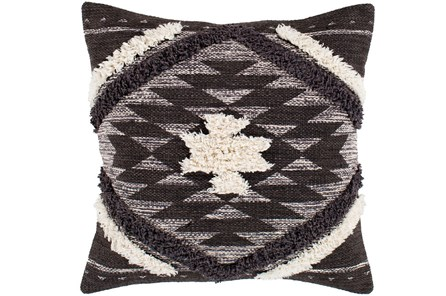 Accent Pillow-Black And Ivory Southwest Diamond 18X18