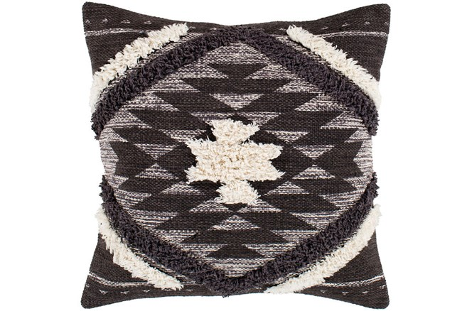 Accent Pillow-Black And Ivory Southwest Diamond 18X18 - 360