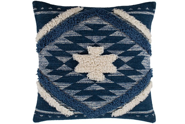 Accent Pillow-Blue And Taupe Southwest Diamond 18X18 - 360