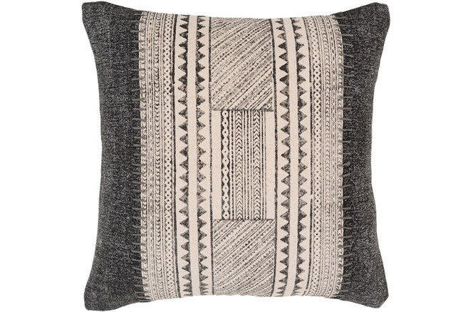 Accent Pillow-Black And Ivory Print Block 20X20 - 360