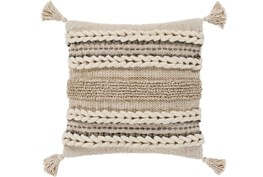 Accent Pillow-Natural Braided Stripes Tassel Corners 20X20
