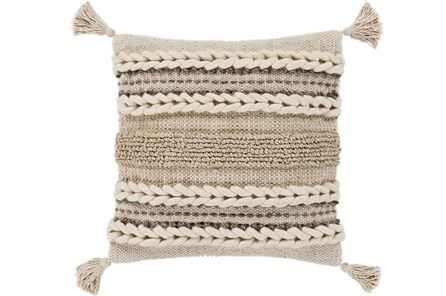 Accent Pillow-Natural Braided Stripes Tassel Corners 20X20 - Main