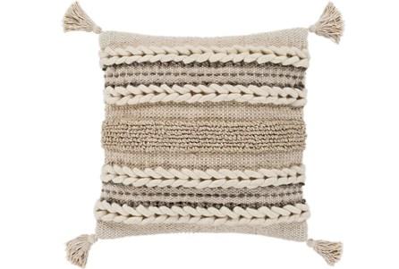 Accent Pillow-Natural Braided Stripes Tassel Corners 20X20 - Main
