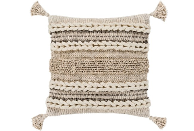 Accent Pillow-Natural Braided Stripes Tassel Corners 20X20 - 360