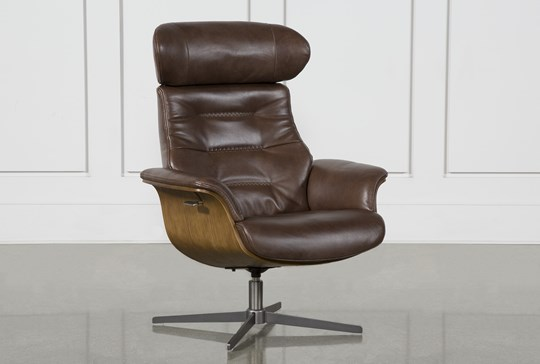 Amala Brown Leather Reclining Swivel Chair With Adjustable Headrest