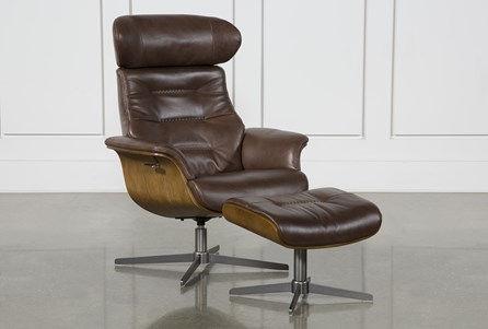 Amala Brown Leather Reclining Swivel Chair With Adjustable Headrest And Otto