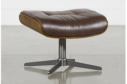 Amala Brown Leather Ottoman