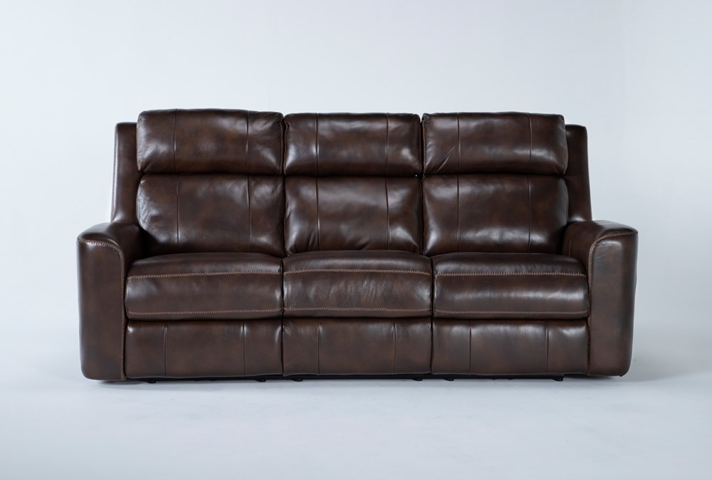 "Stetson Leather 87"" Power Reclining Sofa With Power Headrest & Lumbar"