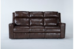 "Stetson Leather 87"" Power Reclining Sofa With Power Headrest & Lumbar"