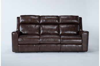 "Stetson Leather 87"" Power Reclining Sofa W/Power Headrest & Lumbar"