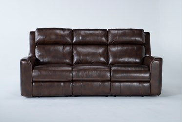 "Stetson Chocolate Leather 87"" Power Reclining Sofa With Power Headrest & Lumbar"