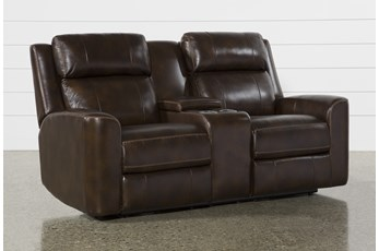 "Stetson Leather 76"" Power Reclining Loveseat With Console Power Headrest & Lumbar"