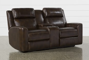 """Stetson Chocolate Leather 76"""" Power Reclining Loveseat With Console Power Headrest & Lumbar"""