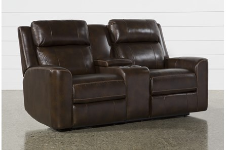 Stetson Leather Power Reclining Loveseat W/Console,Pwr Headrest & Lumbar Lcd