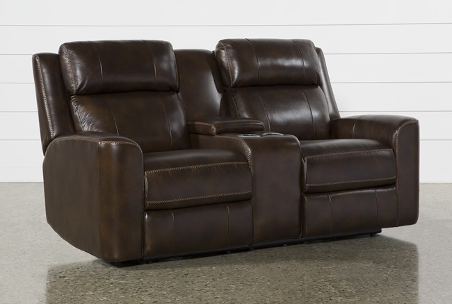 """Stetson Chocolate Leather 76"""" Power Reclining Loveseat With Console Power Headrest & Lumbar - 360"""