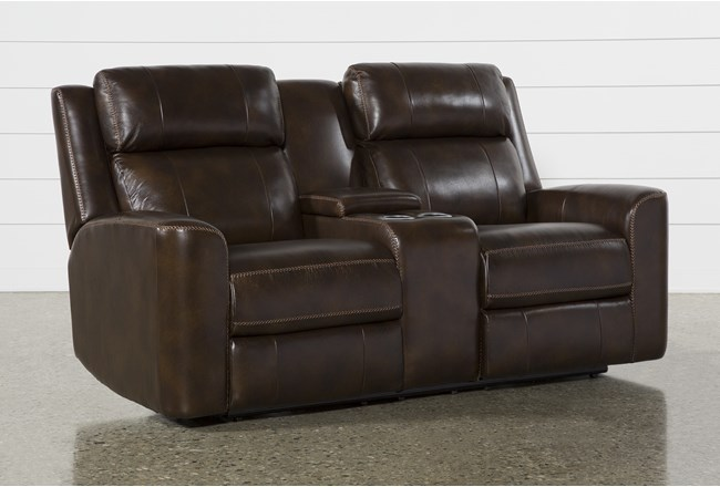 Stetson Leather Power Reclining Loveseat W/Console Power Headrest & Lumbar Lcd - 360