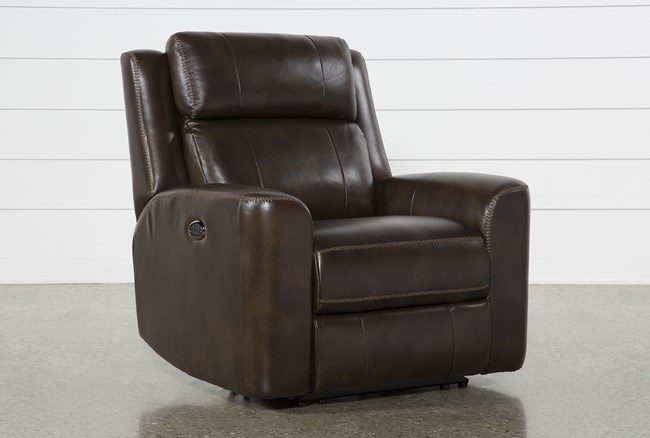 Stetson Chocolate Leather Power Recliner With Power Headrest & Lumbar - 360
