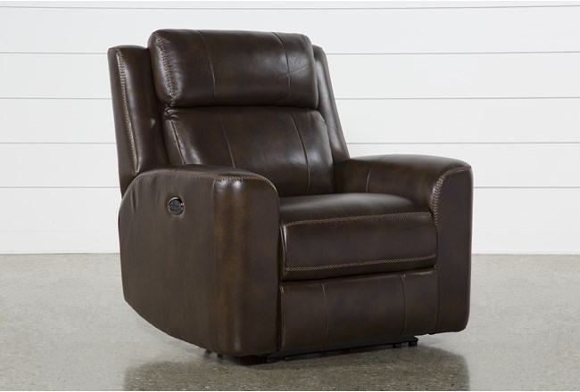 Stetson Leather Power Reclining Chair W/Pwr Headrest & Lumbar - 360