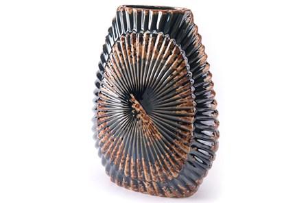 Oil Slick Gunmetal And Orange Large Vase - Main