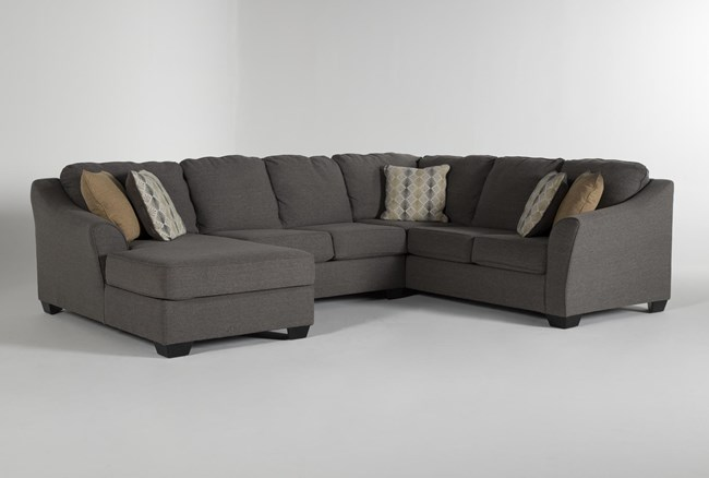 """Fenton 3 Piece 130"""" Sectional With Left Facing Corner Chaise - 360"""
