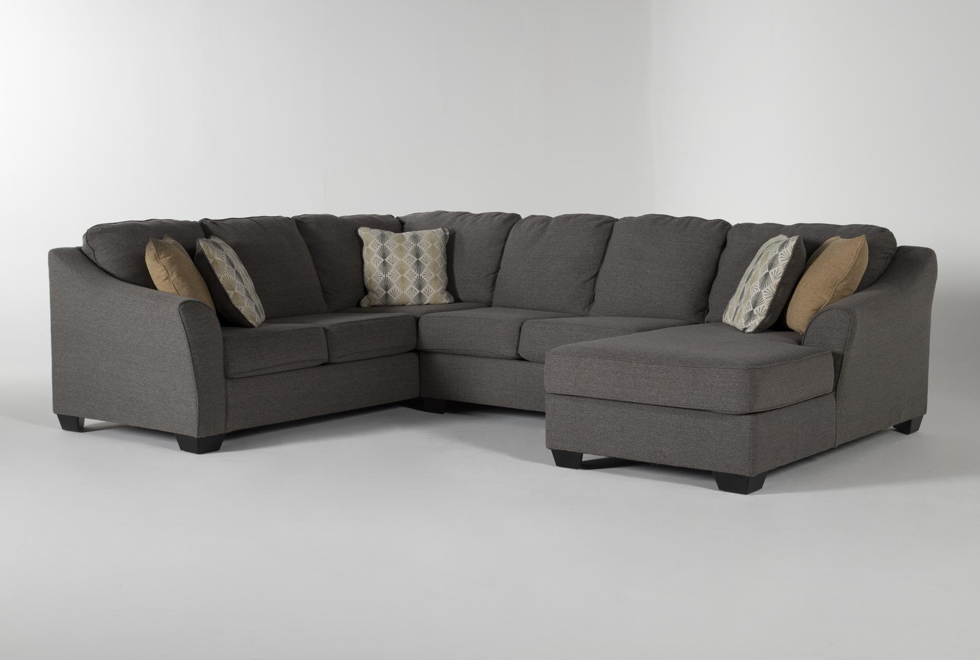 Fenton 3 Piece 130 Sectional With Right Facing Corner Chaise Living Spaces