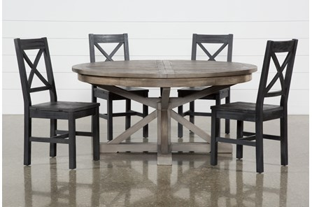 Paris 5 Piece Extension Dining Set With Thomas Black Side Chairs