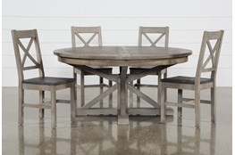 Paris 5 Piece Extension Dining Set With Thomas Grey Side Chairs