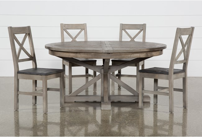 Paris 5 Piece Extension Dining Set With Thomas Grey Side Chairs - 360