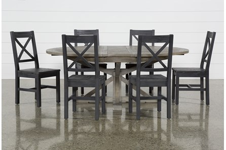 Paris 7 Piece Extension Dining Set With Thomas Black Side Chairs