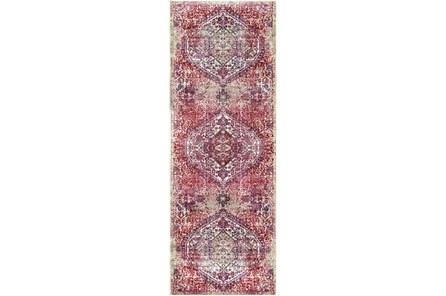 35X94 Rug-Odette Medallion Bright Pink