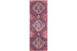 35X94 Rug-Odette Medallion Bright Pink/Aqua