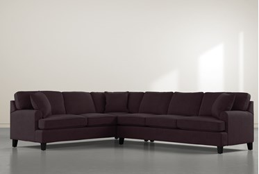 """Donaver II Purple Velvet 2 Piece 125"""" Sectional with Right Arm Facing Sofa"""