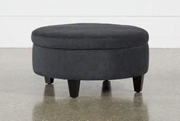 Aspen Black Medium Round Storage Ottoman