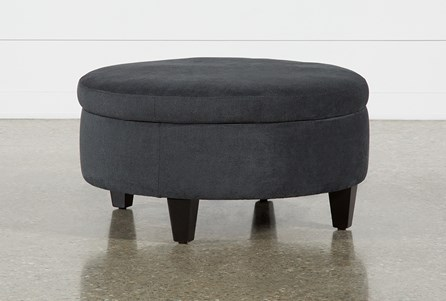 Aspen Black Medium Round Storage Ottoman