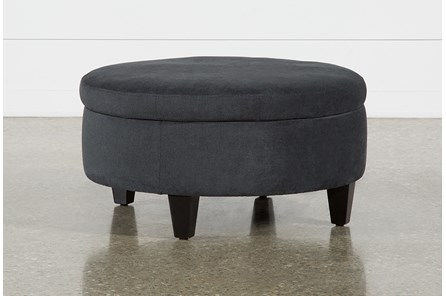 Aspen Black Medium Round Storage Ottoman - Main