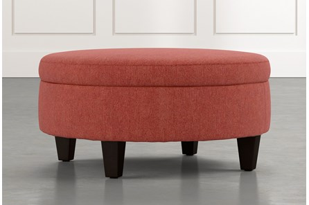 Aspen Red Medium Round Storage Ottoman