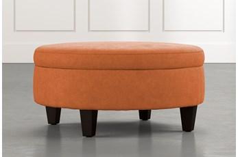 Aspen Orange Medium Round Storage Ottoman