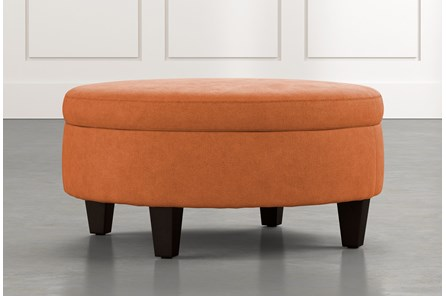 Aspen Orange Medium Round Storage Ottoman