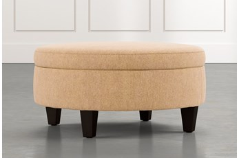 Aspen Yellow Medium Round Storage Ottoman