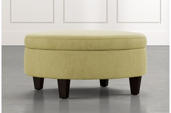 Aspen Green Medium Round Storage Ottoman