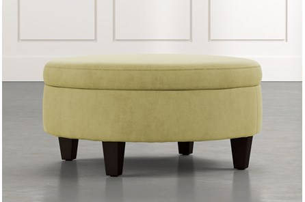 Aspen Green Medium Round Storage Ottoman