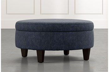 Aspen Navy Blue Medium Round Storage Ottoman