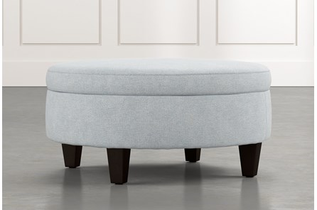 Aspen Light Blue Medium Round Storage Ottoman